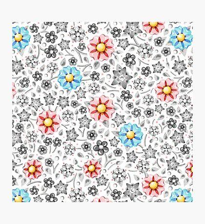 Millefiori Monotone Floral Photographic Print