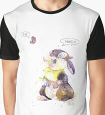 Thumper, Bunny And Butterfly, Watercolor Art Graphic T-Shirt
