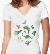 Dinosaur Desert - green and orange on grey - fun pattern by Cecca Designs Women's Fitted V-Neck T-Shirt
