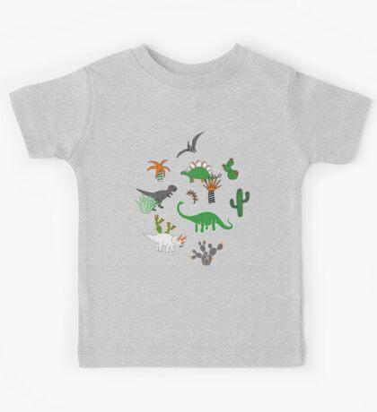 Dinosaur Desert - green and orange on grey - fun pattern by Cecca Designs Kids Clothes
