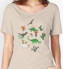 Dinosaur Desert - green and orange on grey - fun pattern by Cecca Designs Women's Relaxed Fit T-Shirt