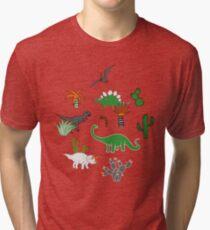 Dinosaur Desert - green and orange on grey - fun pattern by Cecca Designs Tri-blend T-Shirt