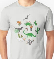 Dinosaur Desert - green and orange on grey - fun pattern by Cecca Designs T-Shirt