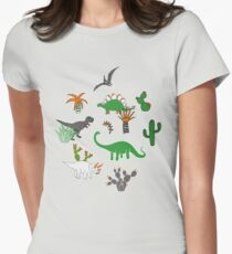 Dinosaur Desert - green and orange on grey - fun pattern by Cecca Designs Women's Fitted T-Shirt