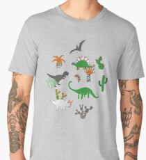 Dinosaur Desert - green and orange on grey - fun pattern by Cecca Designs Men's Premium T-Shirt