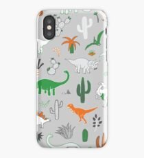 Dinosaur Desert - green and orange on grey - fun pattern by Cecca Designs iPhone Case