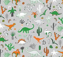 Dinosaur Desert - green and orange on grey - fun pattern by Cecca Designs by Cecca-Designs