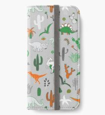 Dinosaur Desert - green and orange on grey - fun pattern by Cecca Designs iPhone Wallet/Case/Skin