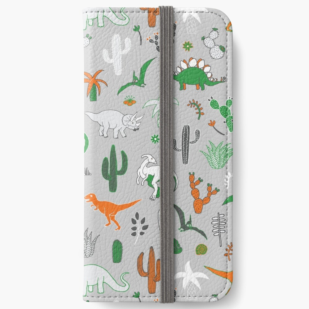 Dinosaur Desert - green and orange on grey - fun pattern by Cecca Designs iPhone Wallet