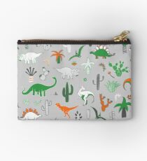 Dinosaur Desert - green and orange on grey - fun pattern by Cecca Designs Studio Pouch
