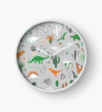 Dinosaur Desert - green and orange on grey - fun pattern by Cecca Designs Clock