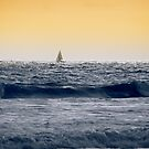 Yacht on the Sunset Horizon by Kasia-D
