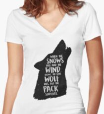 The Lone Wolf Dies, But The Pack Survives Women's Fitted V-Neck T-Shirt