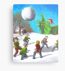 Great Cthulhu Hates Christmas - Bullseye Metal Print