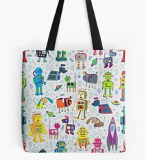 Robots in Space - grey - fun Robot pattern by Cecca Designs Tote Bag