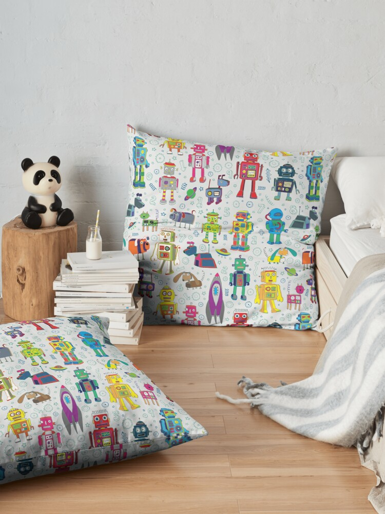 Alternate view of Robots in Space - grey - fun Robot pattern by Cecca Designs Floor Pillow