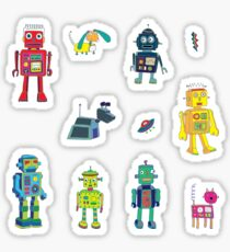 Robots in Space - grey - fun Robot pattern by Cecca Designs Sticker