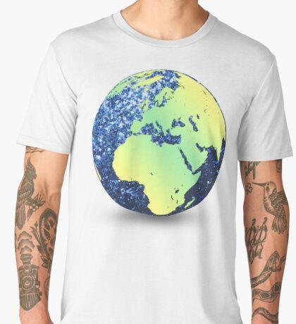 Earth Day Blue Sparkles Globe Men's Premium T-Shirt