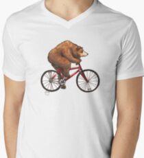 Bear on a Bike Men's V-Neck T-Shirt