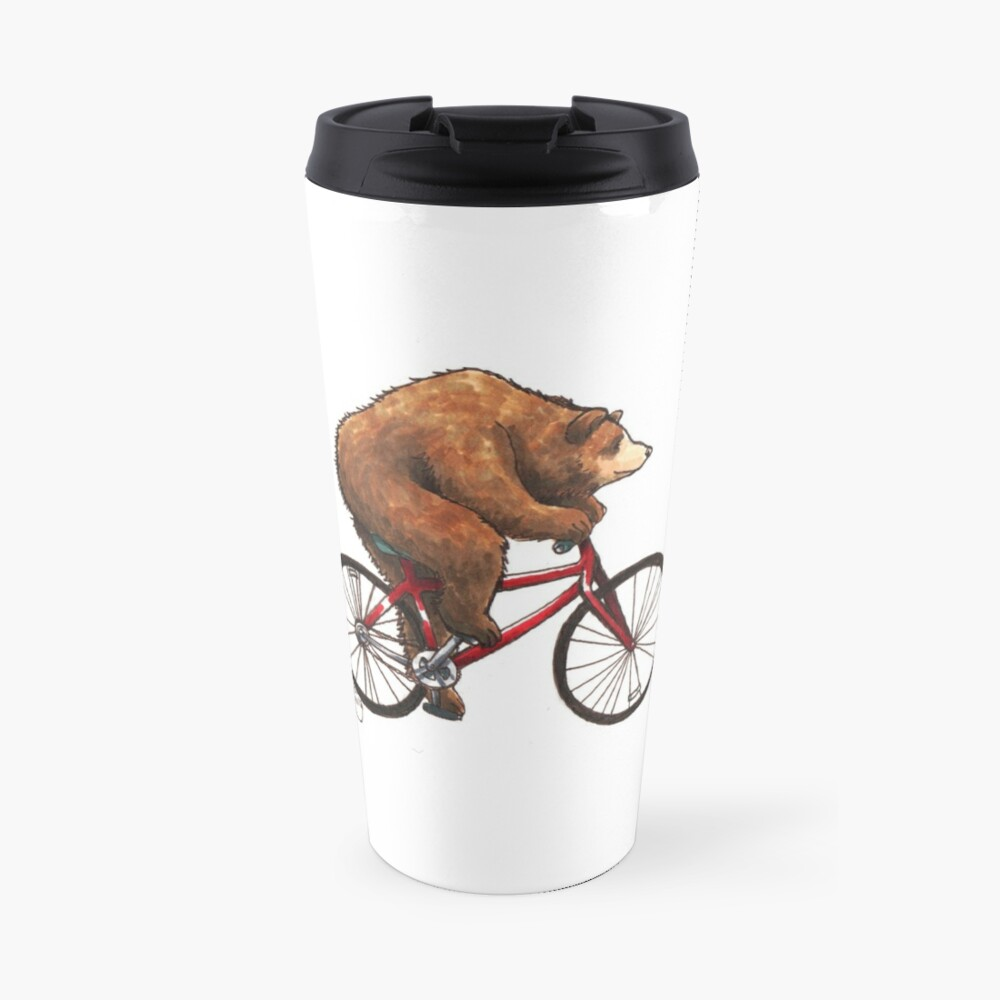 Bear on a Bike Travel Mug