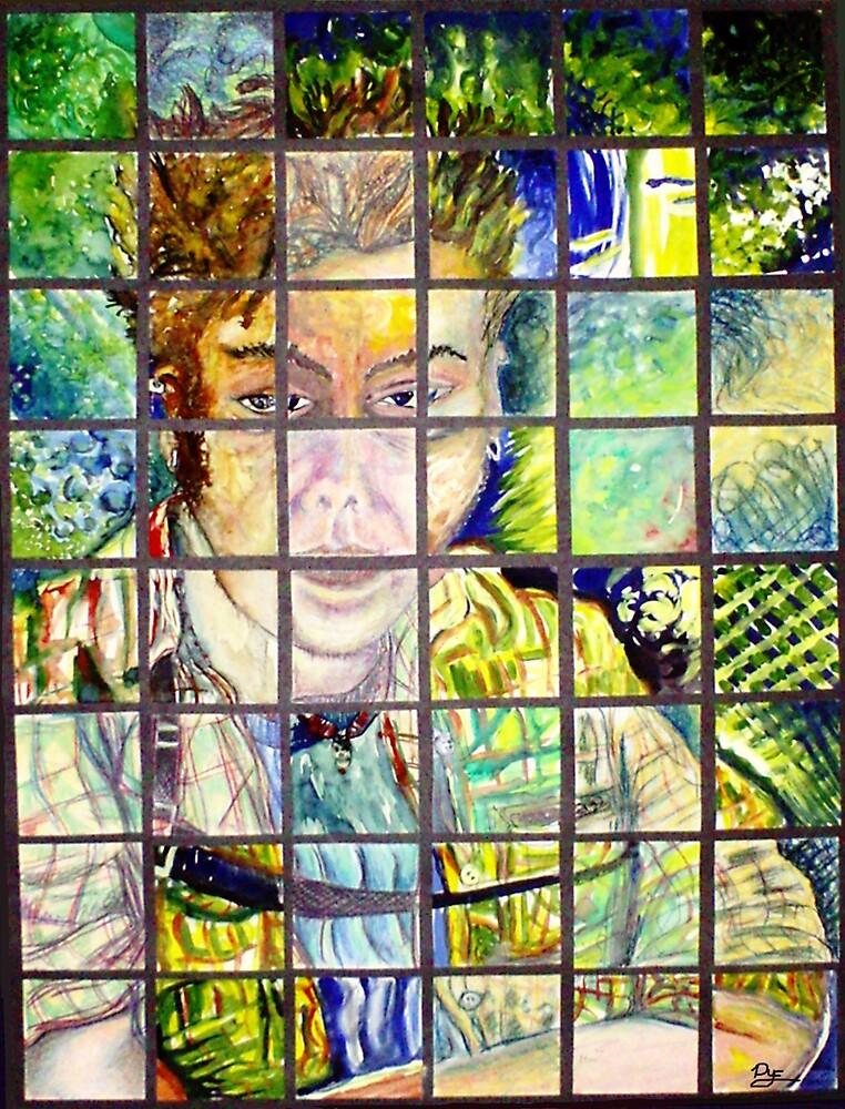 48 Squares Self-portrait (Mixed Media)- by Robert Dye