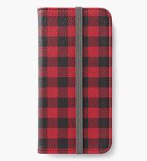 Rot und Schwarz Buffalo Plaid iPhone Flip-Case/Hülle/Klebefolie