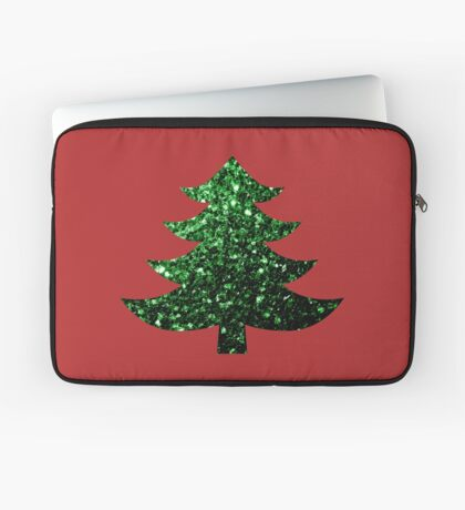 Sparkly Christmas tree green sparkles  Laptop Sleeve