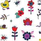 Ducks and Frogs in the Garden - cute floral pattern by Cecca Designs by Cecca-Designs