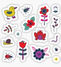 Ducks and Frogs in the Garden Sticker