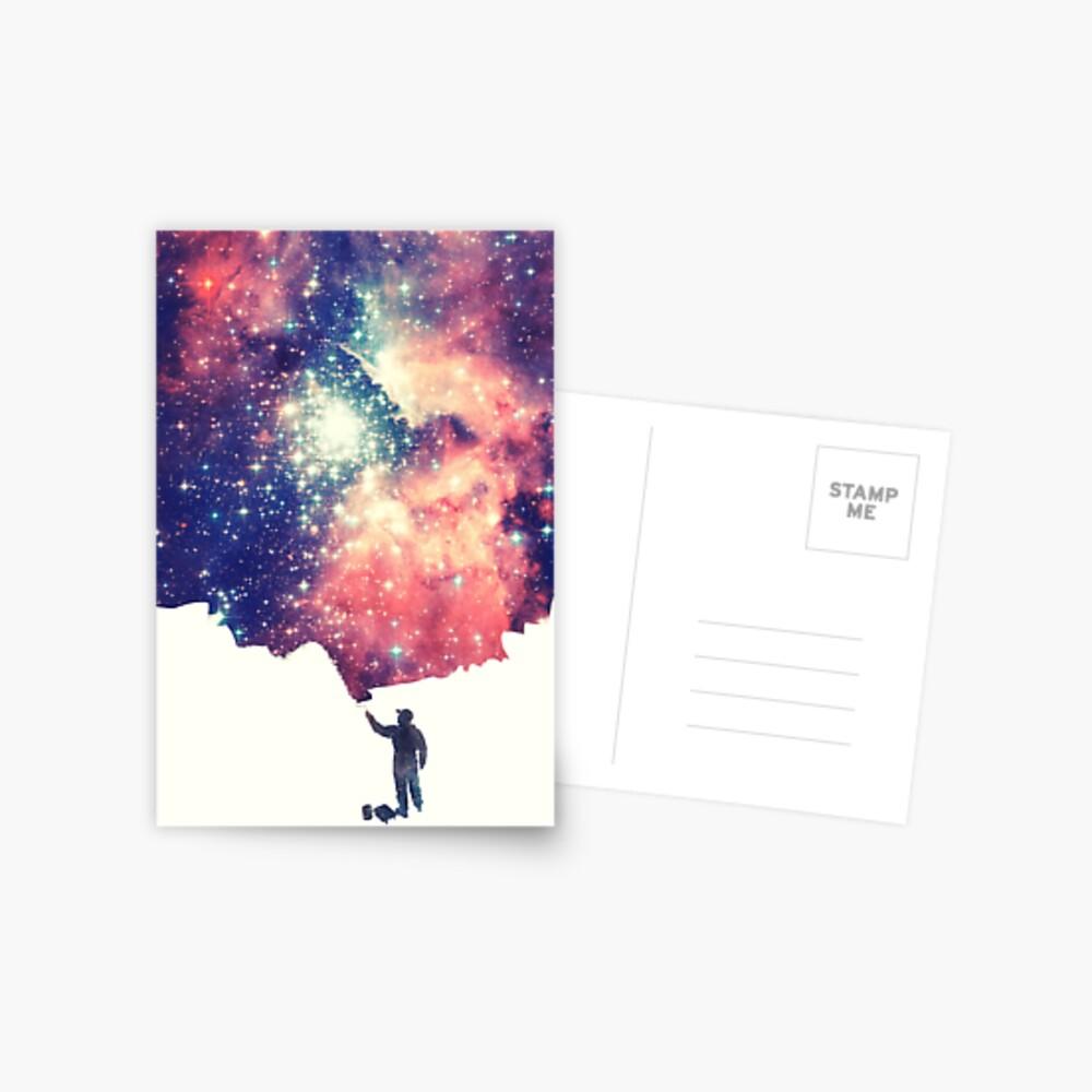 Pintar el universo (arte espacial colorido y negativo) Postal