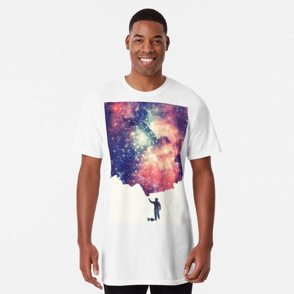 Pintar el universo (arte espacial colorido y negativo) Camiseta larga