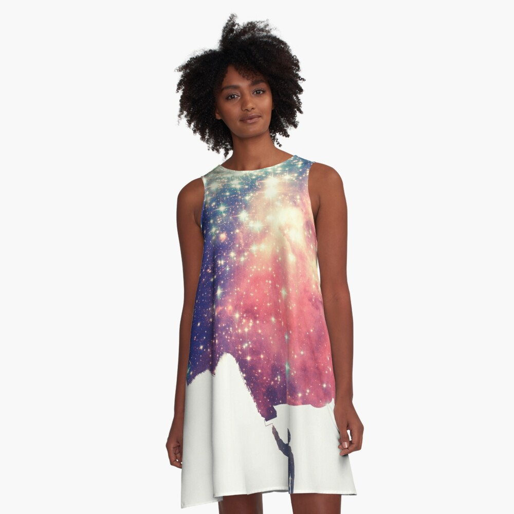 Painting the universe (Colorful Negative Space Art) A-Linien Kleid