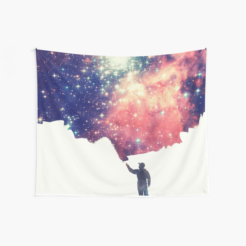 Painting the universe (Colorful Negative Space Art) Wandbehang