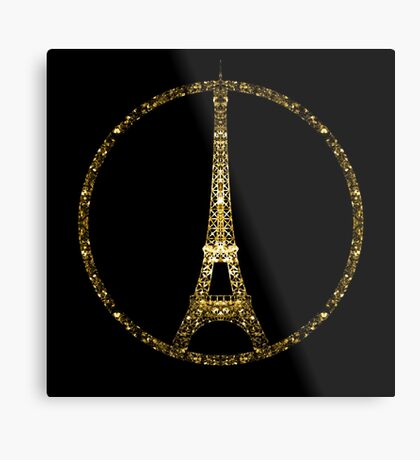 Paris Eiffel Tower gold sparkles peace symbol on black Metal Print