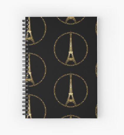 Paris Eiffel Tower gold sparkles peace symbol on black Spiral Notebook