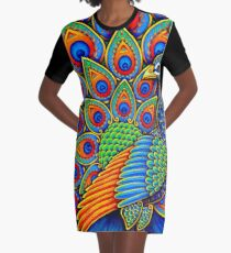 Colorful Paisley Peacock Rainbow Bird Graphic T-Shirt Dress