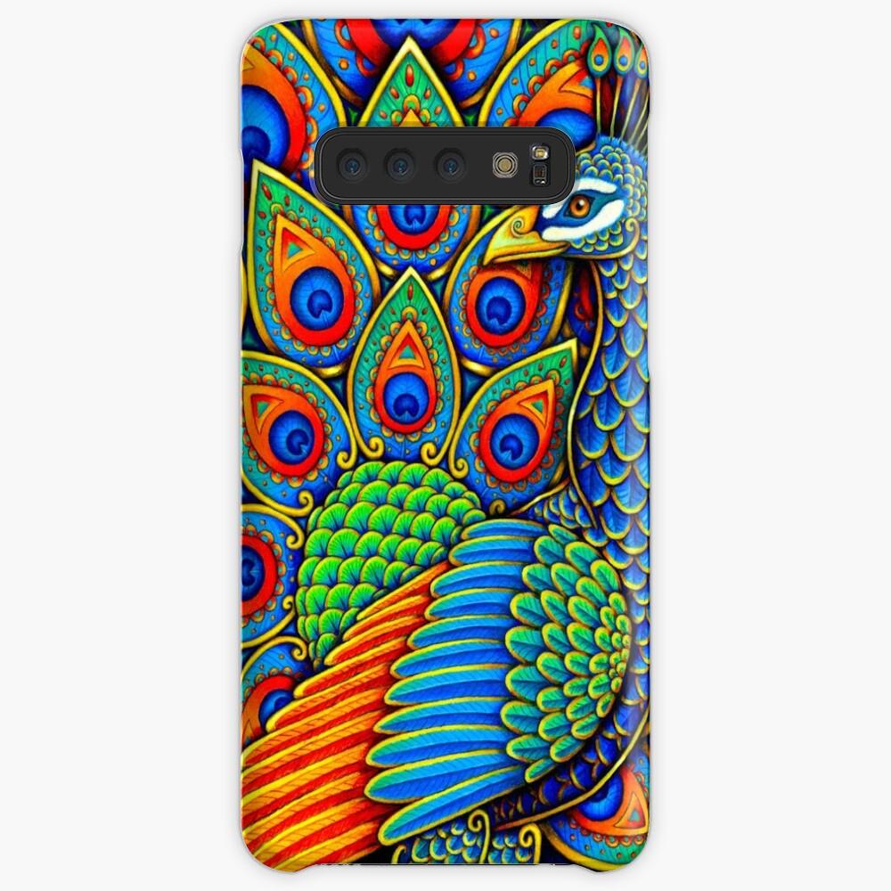 Bunter Paisley-Pfau-Regenbogen-Vogel Hülle & Klebefolie für Samsung Galaxy
