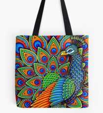 Colorful Paisley Peacock Bird Tote Bag