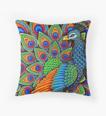 Colorful Paisley Peacock Bird Throw Pillow