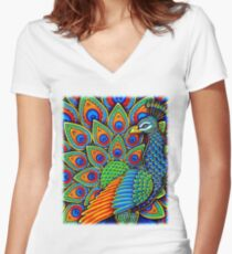 Colorful Paisley Peacock Bird Women's Fitted V-Neck T-Shirt