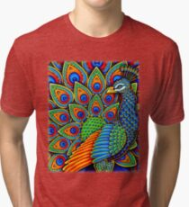 Colorful Paisley Peacock Bird Tri-blend T-Shirt