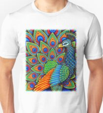 Colorful Paisley Peacock Bird Unisex T-Shirt