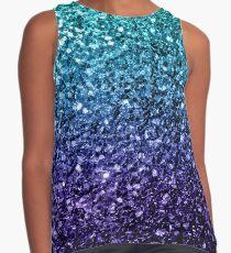 Wunderschönes Aqua Blue Ombre Glitter funkelt Ärmelloses Top