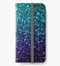 Beautiful Aqua blue Ombre glitter sparkles  iPhone Wallet/Case/Skin