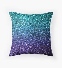 Beautiful Aqua blue Ombre glitter sparkles  Throw Pillow