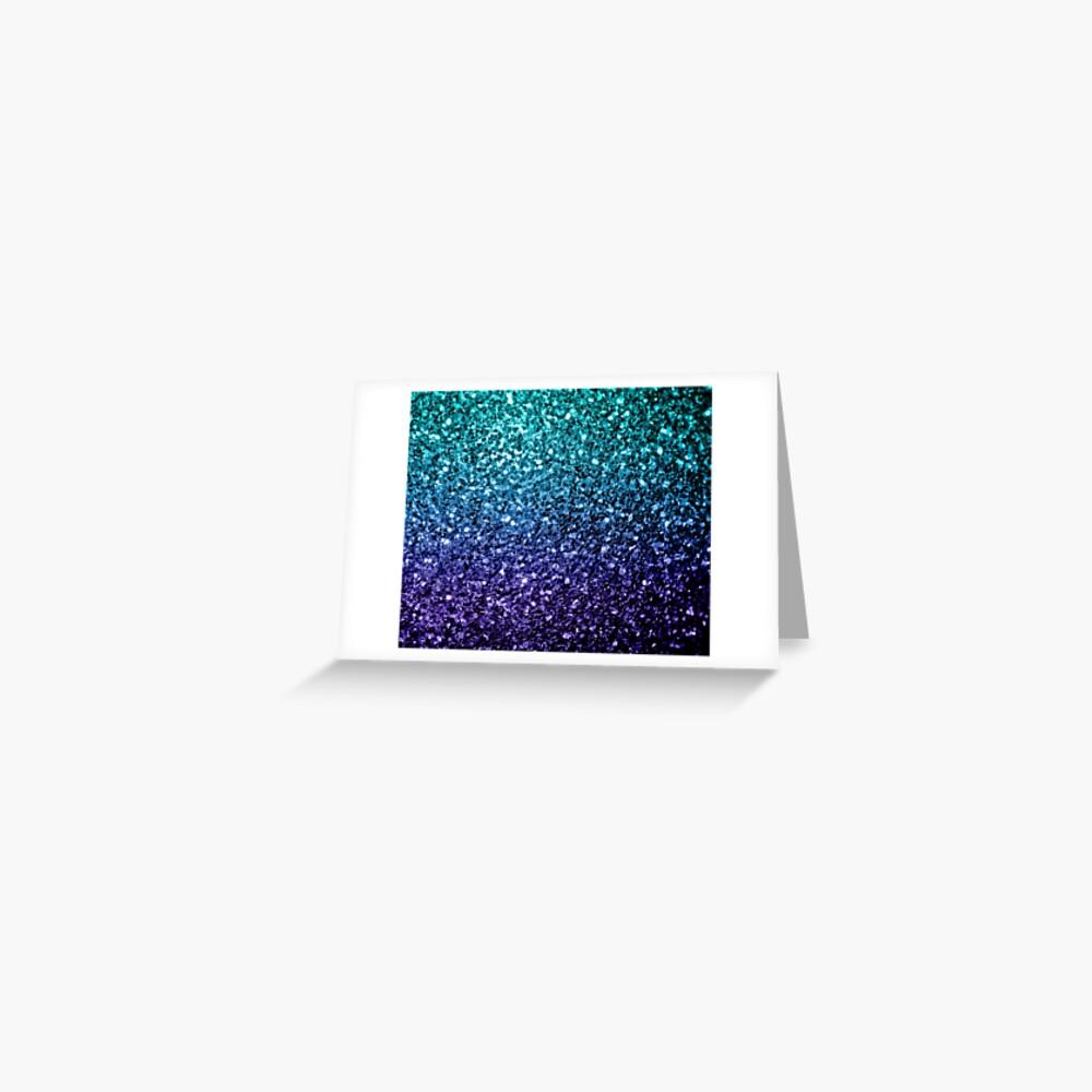 Beautiful Aqua blue Ombre glitter sparkles  Greeting Card