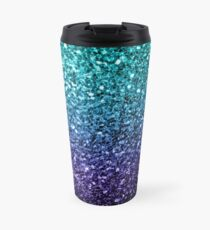 Beautiful Aqua blue Ombre glitter sparkles  Travel Mug
