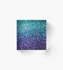 Beautiful Aqua blue Ombre glitter sparkles  Acrylic Block