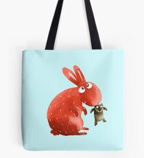 Red Rabbit Catches Bear Tote Bag