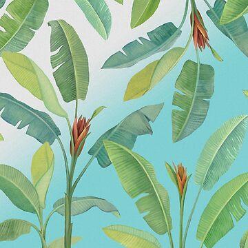 Banan leaves on blue by anushka777